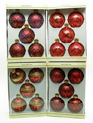Glass Ball Ornament 5pc Set Burgundy with DiamondNet Design 4 Asst Sets Price EACH