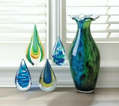 PIXEL BLUE TEAR DROP GLASS ART