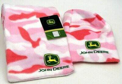 John Deere Hat & Scarf Pink
