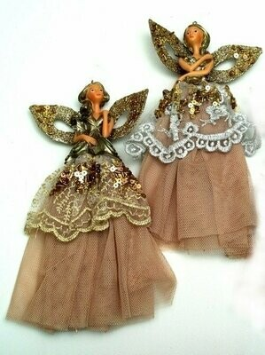 Elegant Lady with Gold Skirt Ornaments Set of Two