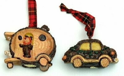 Rustic Log Car Ornaments Set of Two