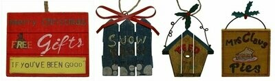 WoodMetal Sign Ornaments Set of Four