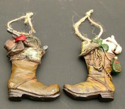 Resin Cowboy Boot Ornaments Set/2