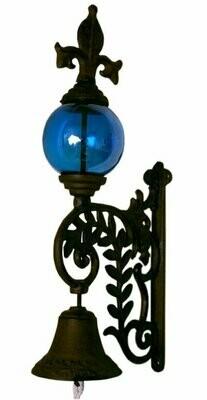 Cast Iron Bell W BLUE Glass Gazing Ball