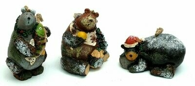 Woodland Bear Ornaments Set of Three