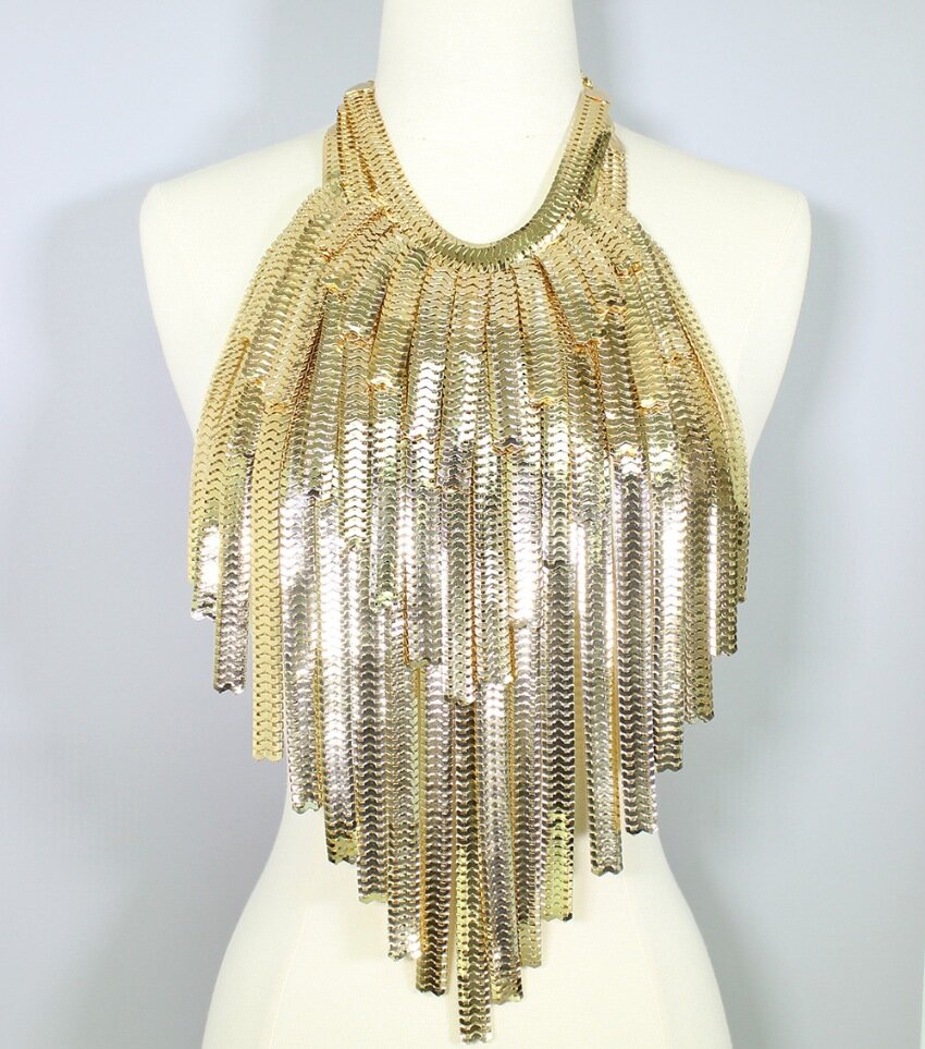 Layered Metal Fringe Body Bib Necklace