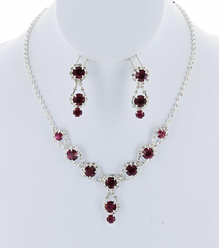 Wedding Round Drop Rhinestone Line Necklace Set