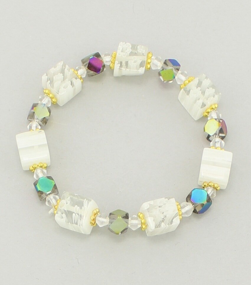 Murano Glass Beaded Stretch Bracelet