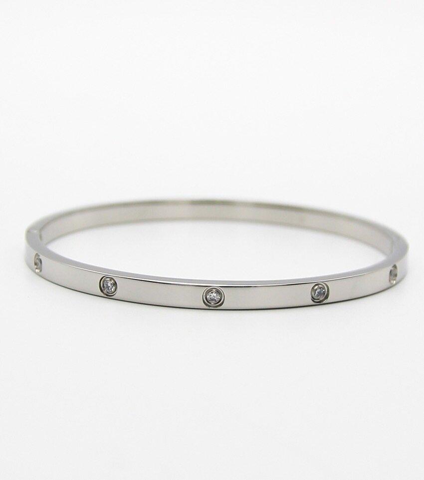 Crystal Pave Stainless Steel Banlge Bracelet