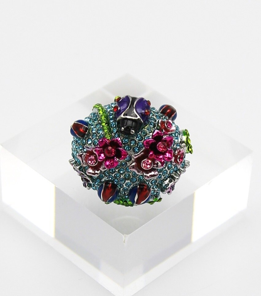 Crystal Pave Lady Bug Cocktail Ring