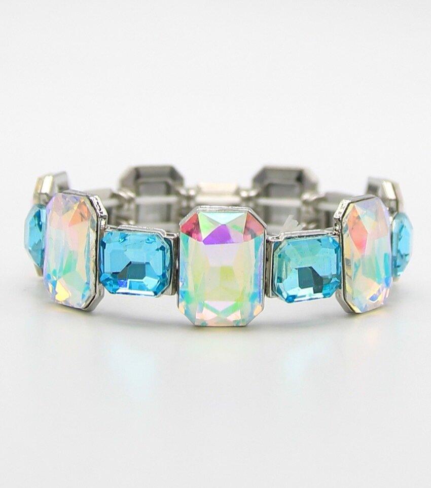 Two Tone Square Crystal Stretch Bracelet