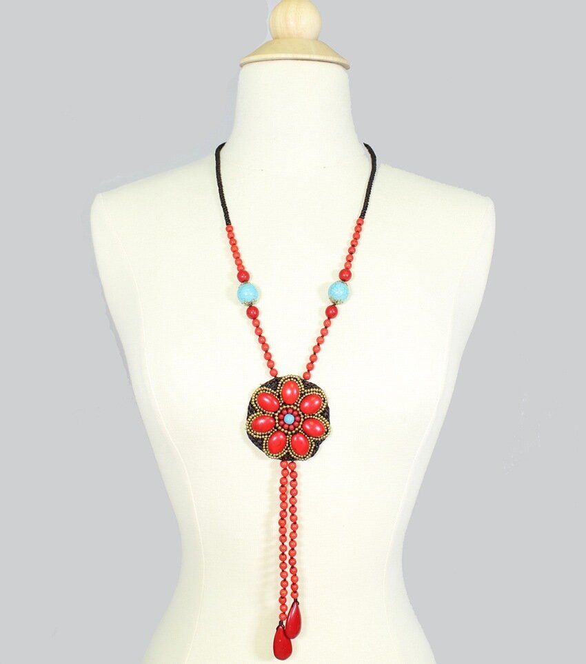Handmade Coral Turquoise Pendant Drop Necklace