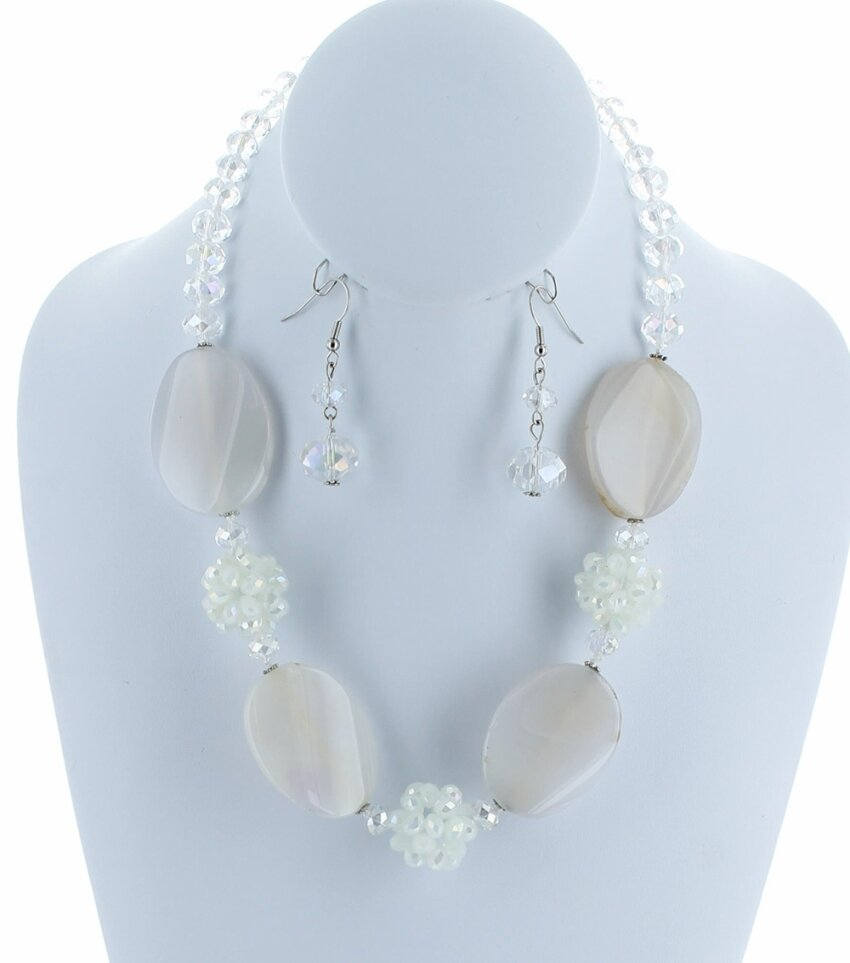 Semiprecious Oval Agate Stone Glass Beaded Necklace Set