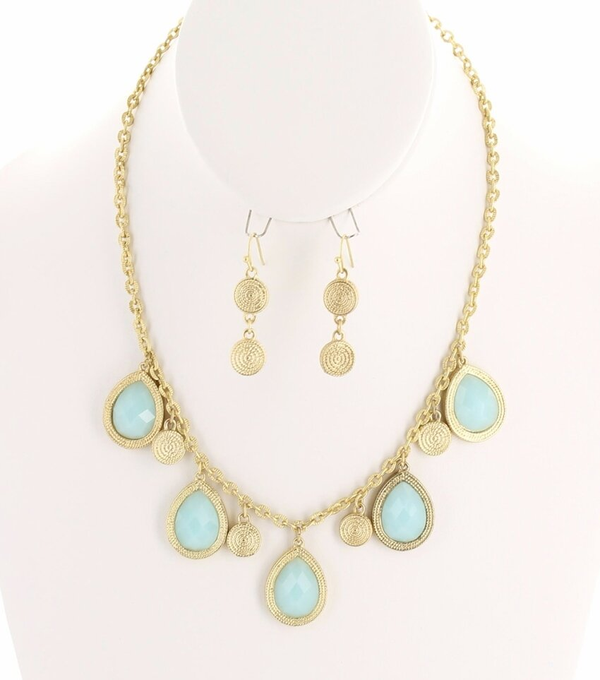 Multi Teardrop Resin Pendant Chain Necklace Set with Braided Metal Charms