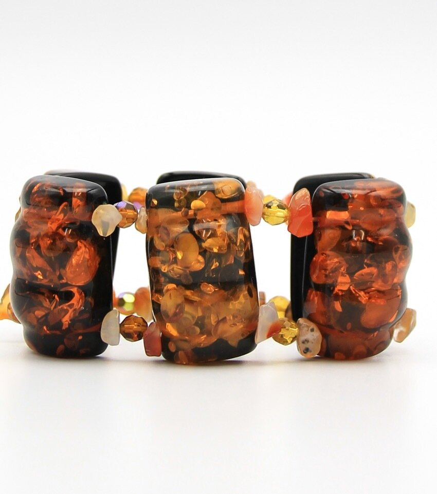 Square Lucite Bead Stretch Bracelet