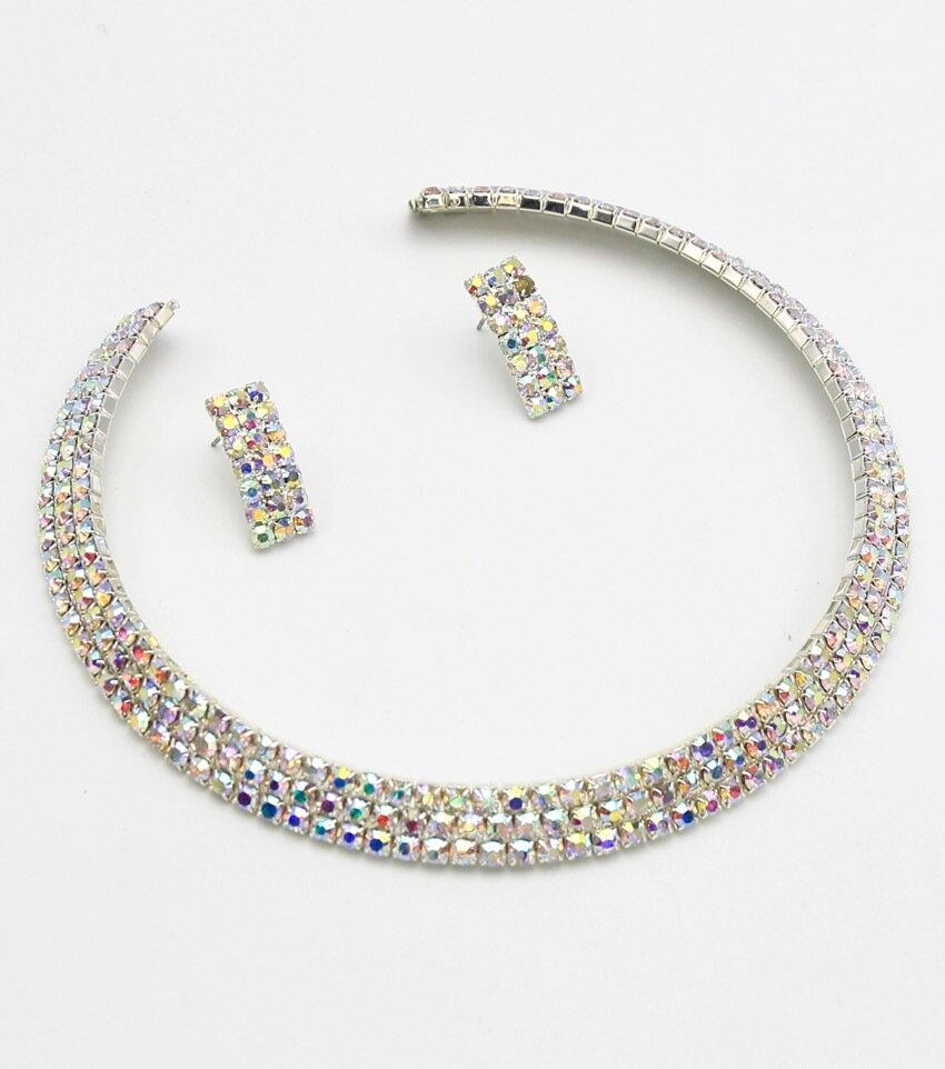 3 Row Rhinestone Choker Necklace Set