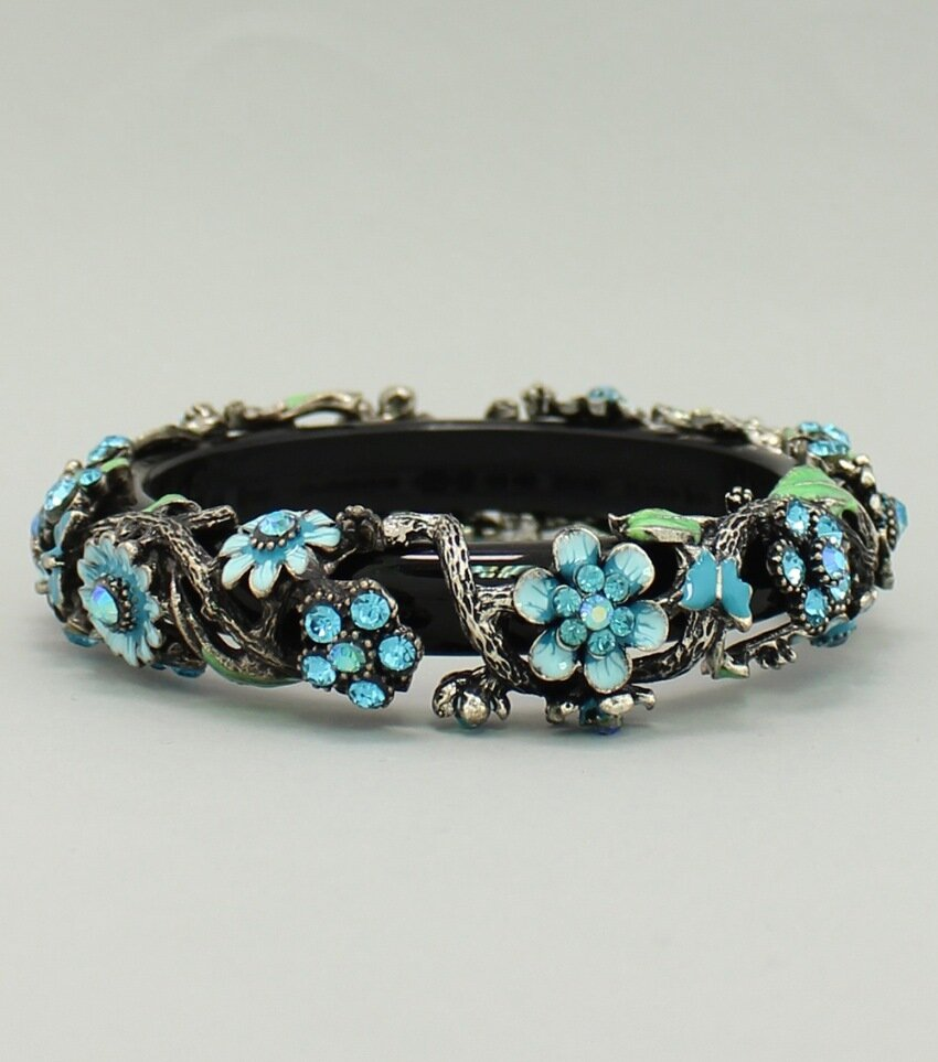 Floral Covered Bangle Bracelet
