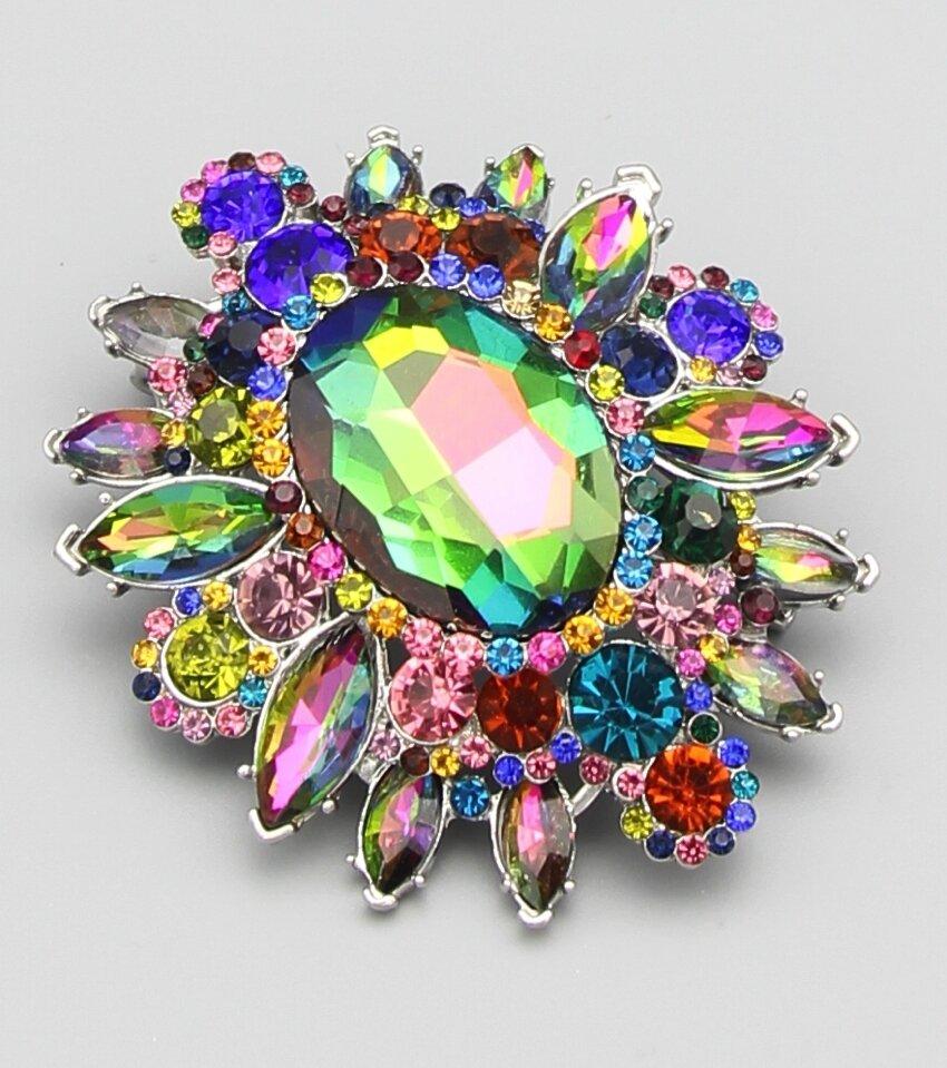 Victorian Queen Crystal Brooch Pin