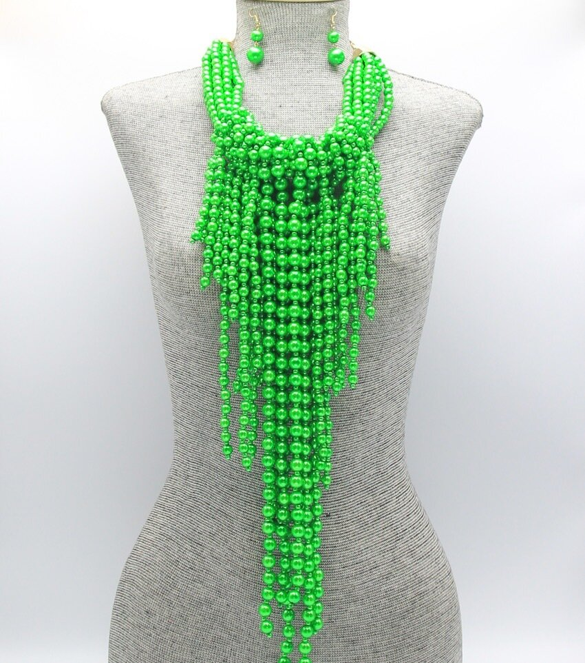 Fringe Statement Pearl Beaded Necklace Set