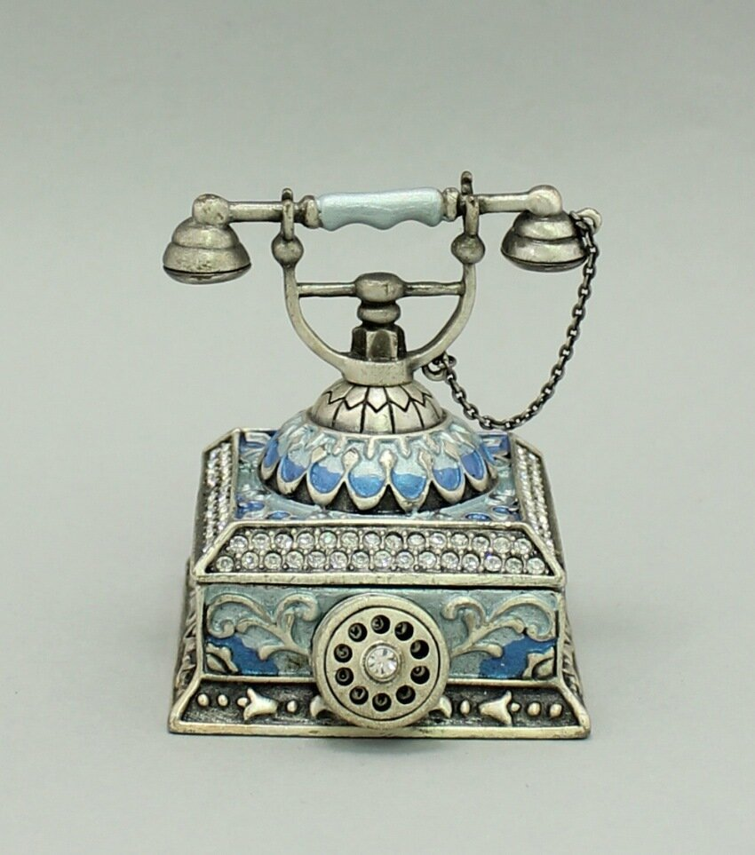 Enamel Deco Antique Telephone Trinket Box