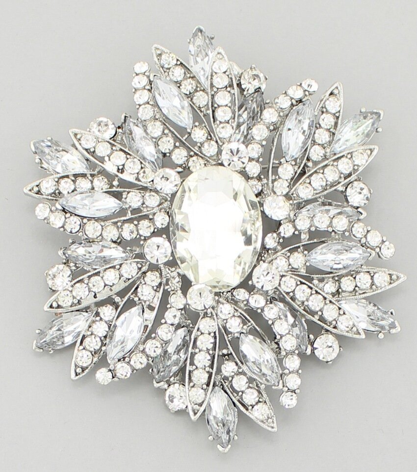 Statement Crystal Fashion Brooch Pin