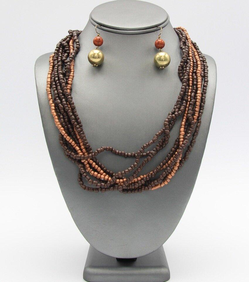 Multi Strand Beaded Necklace Set