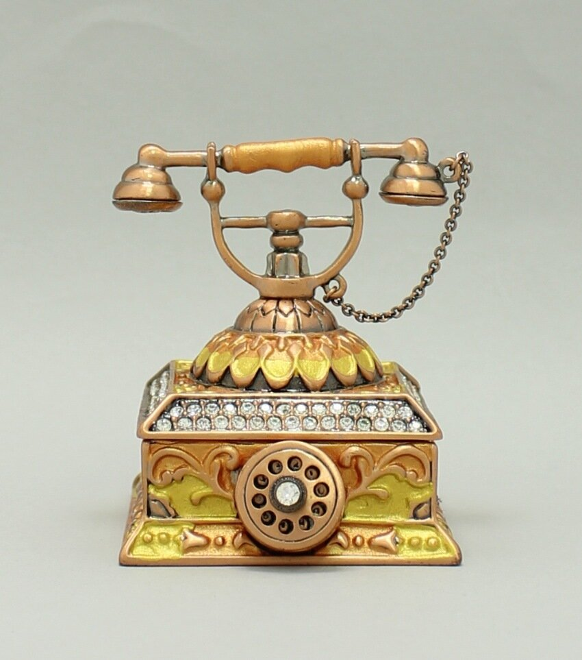 Enamel Deco Antique Rotary Telephone Trinket