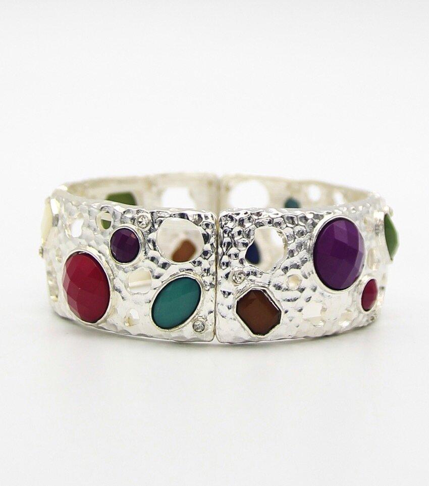 Resin Stone Metal Stretch Fashion Bracelet