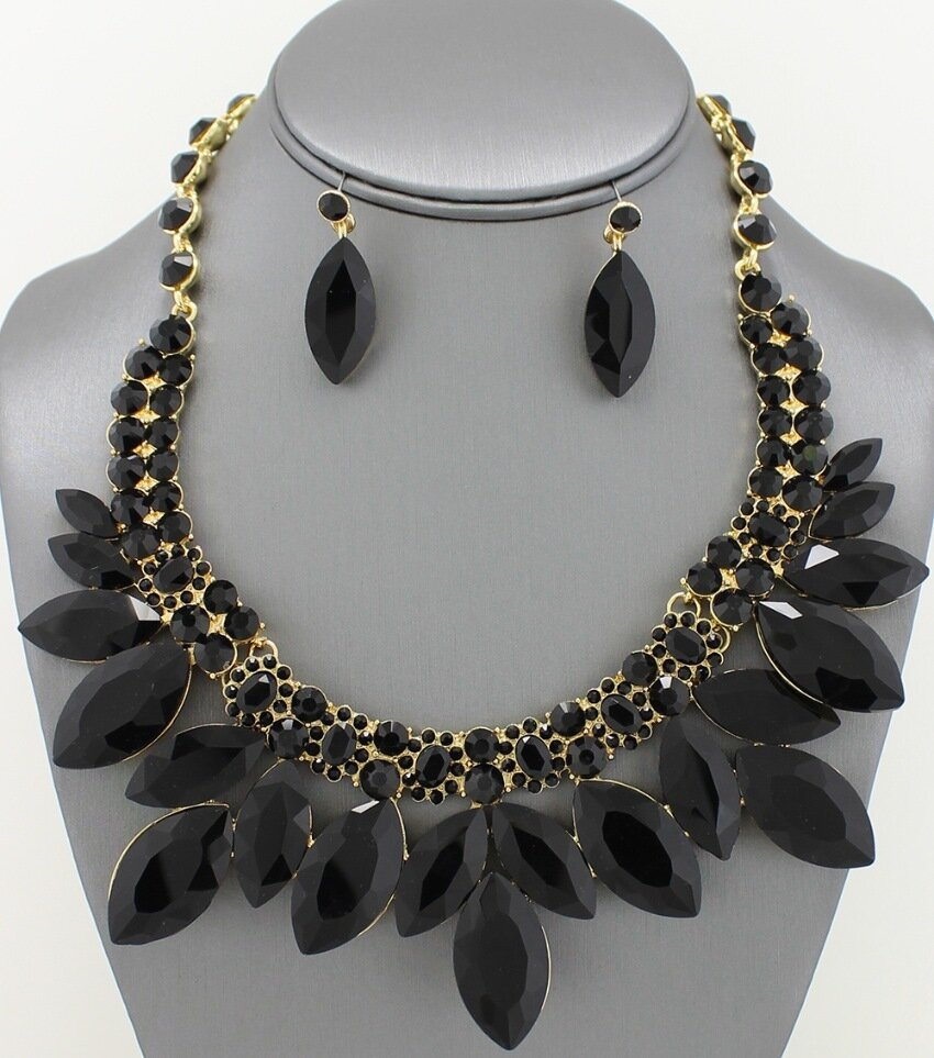 Jet Black Marquis Crystal Necklace Set