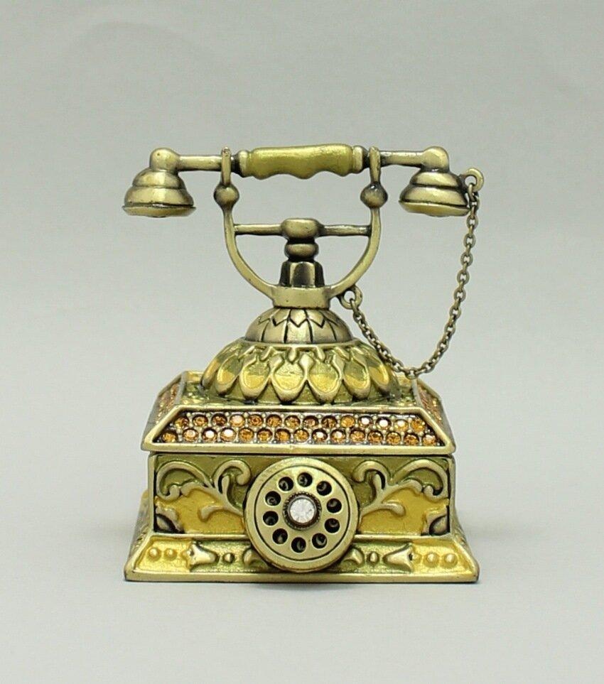 Enamel Deco Antique Rotary Telephone Trinket