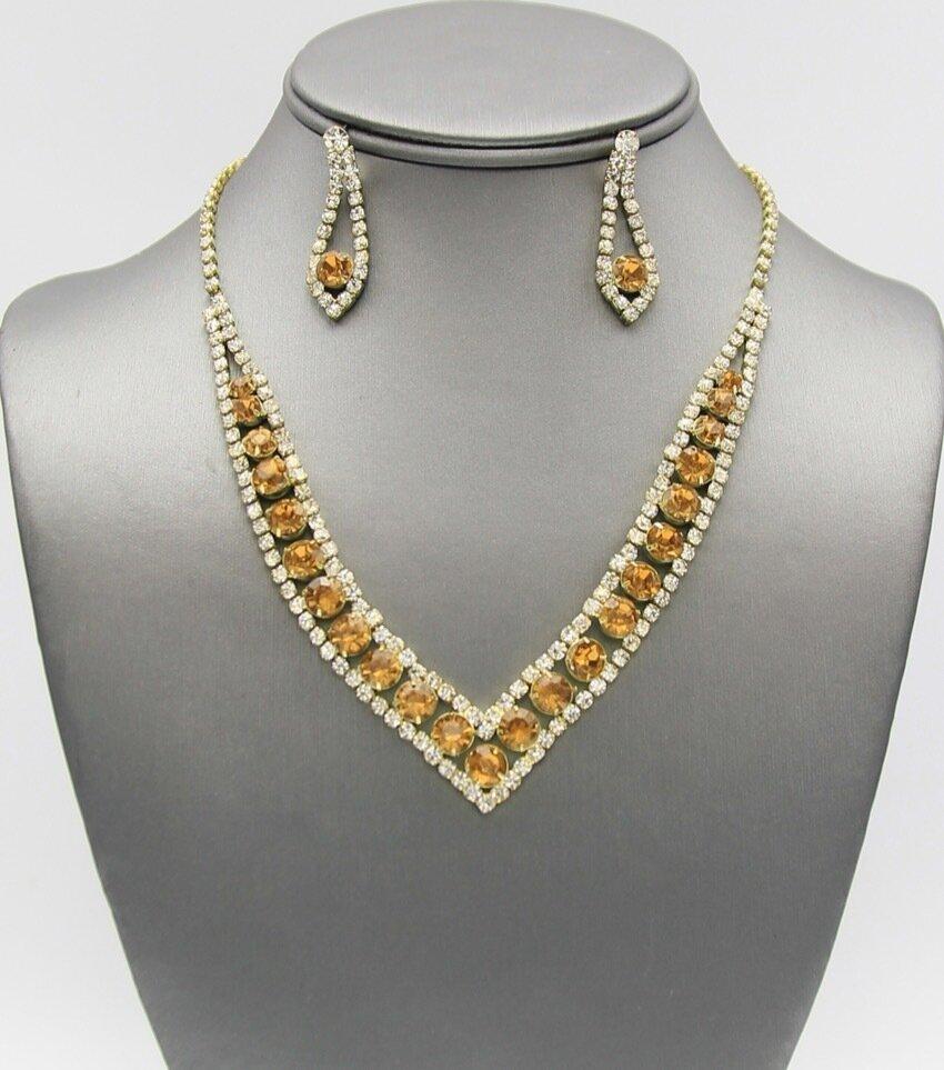 V- Shape Rhinestone Necklace Set