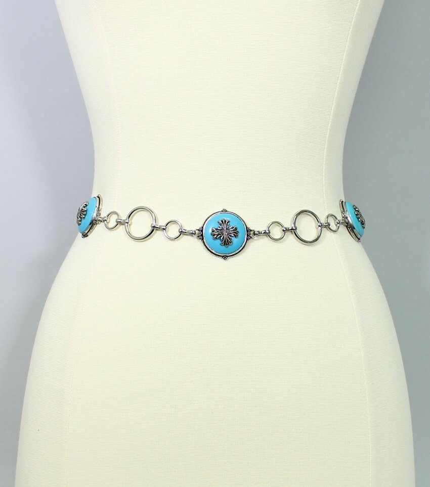 Six-Pack Cross Turquoise Belt