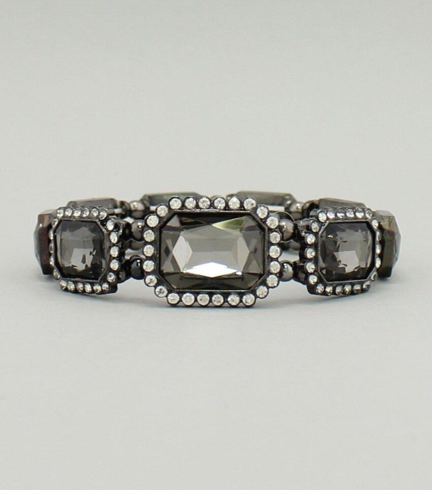 Emerald Cut Pave Crystal Stretch Bracelet