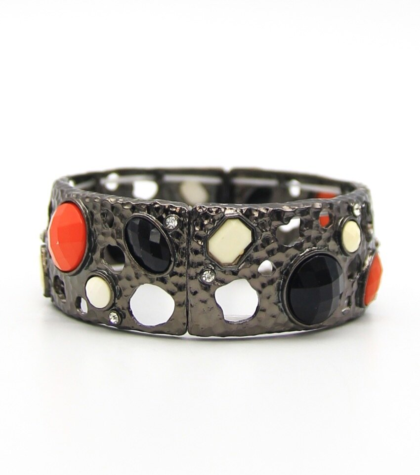 Resin Stone Metal Stretch Fashion Bracelet
