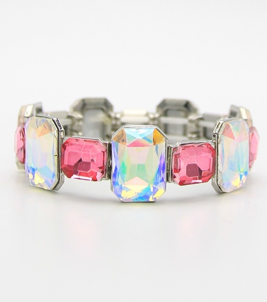 Two Tone Square Crystal Stretch Bracelet