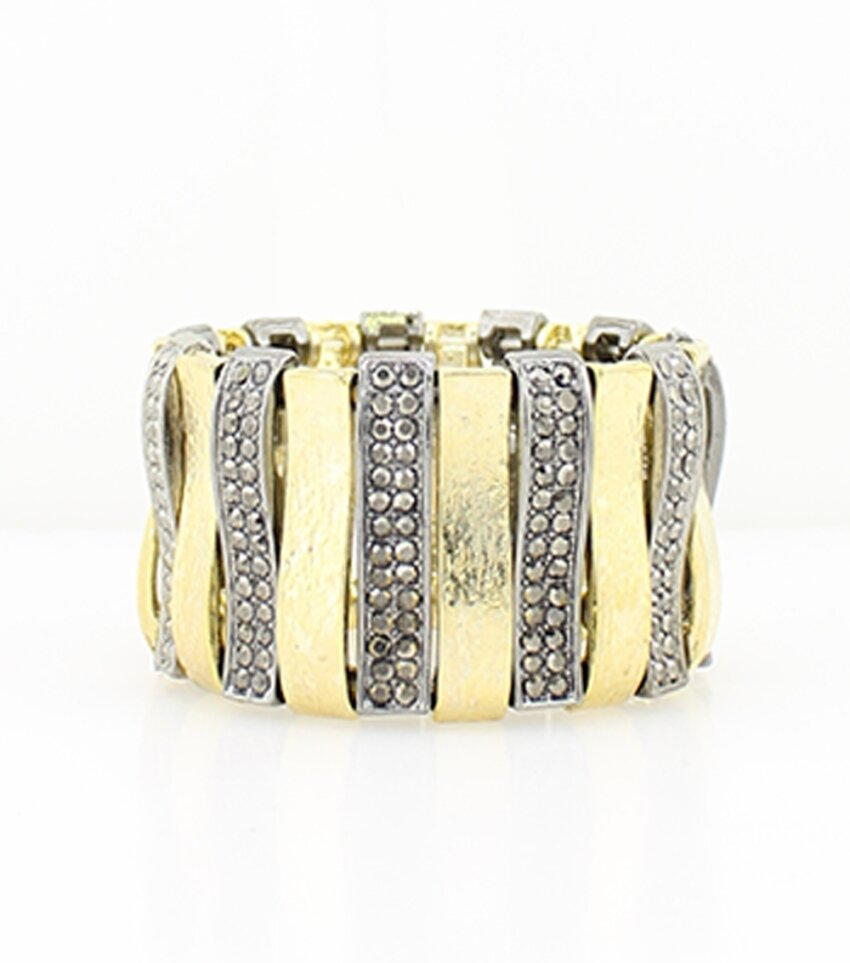 Wavy Rhinestone Stretch Bracelet