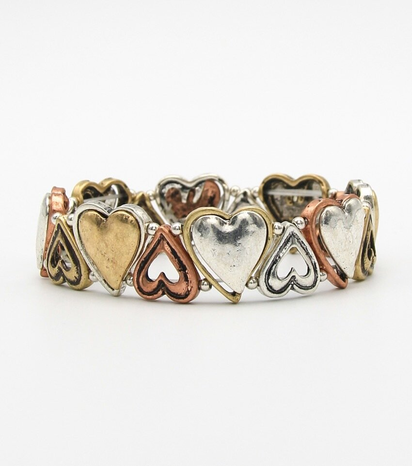 Metal Stretch Crafted Heart Bracelet