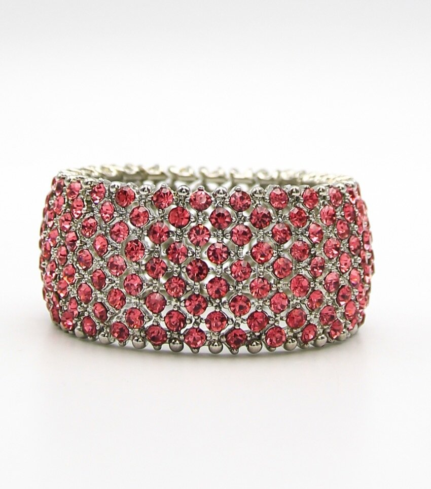 Crystal Pave Bridal Stretch Bangle Bracelet
