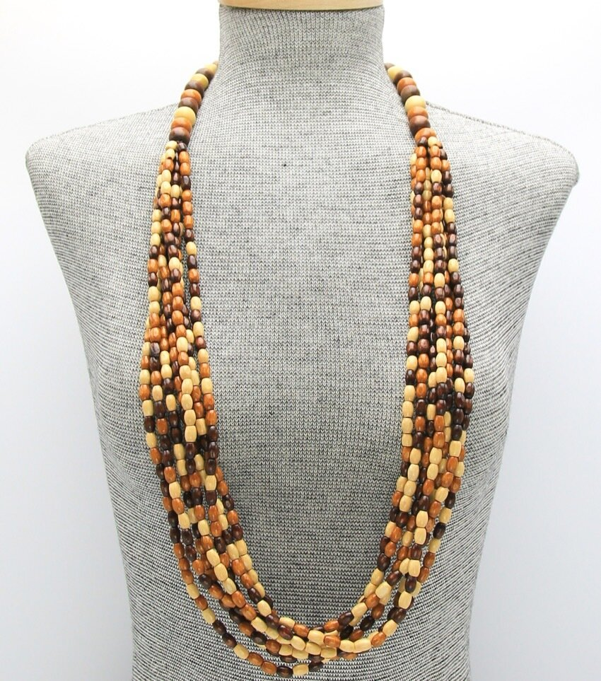 Natural Beaded Multi Strand Necklace