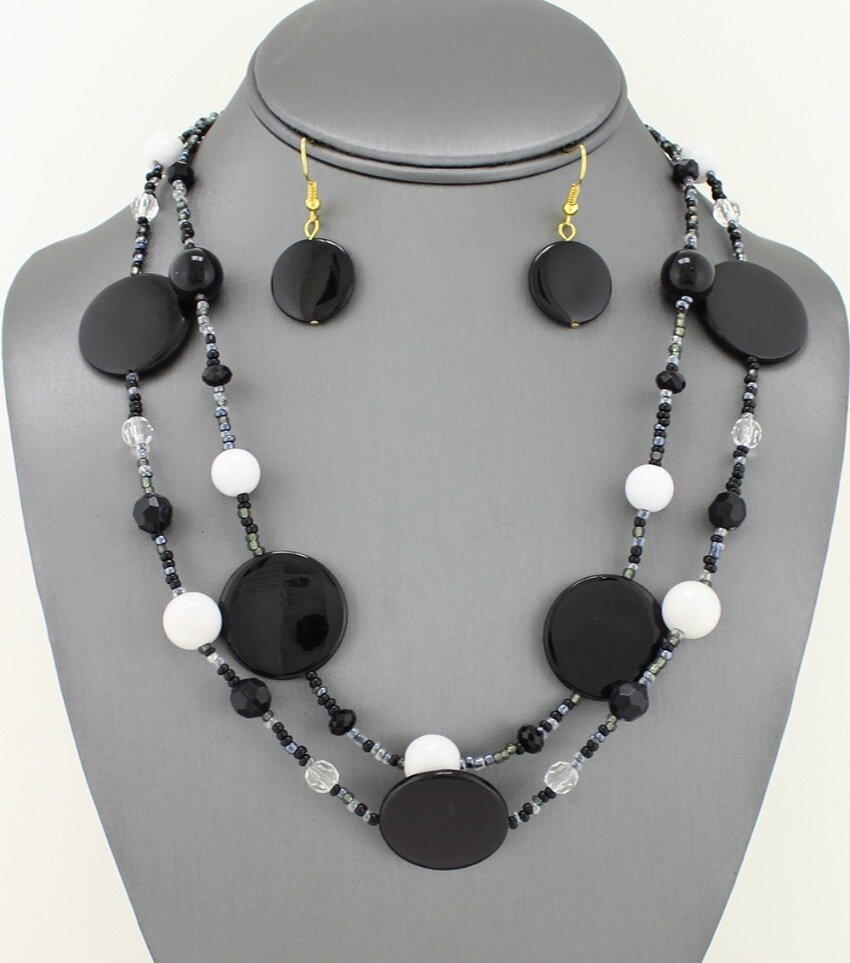 Multi Shell Pendant on Multi-strand Beaded Necklace Set