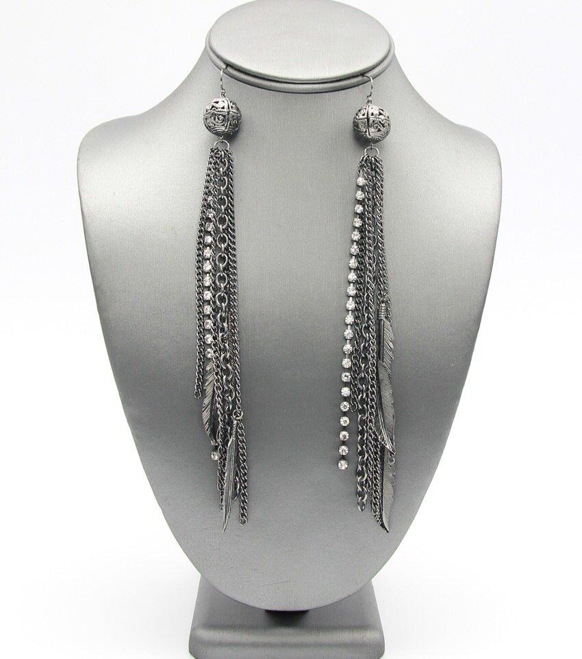 Long Metal Statement Earrings