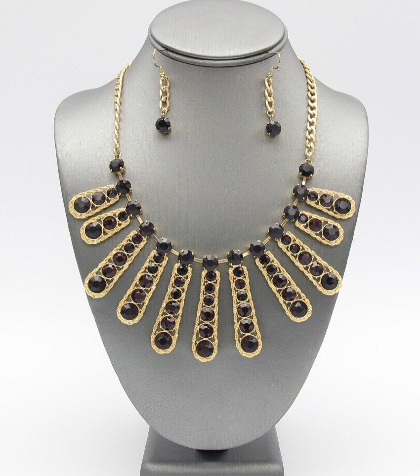 Crystal Fringe Bib Necklace Set