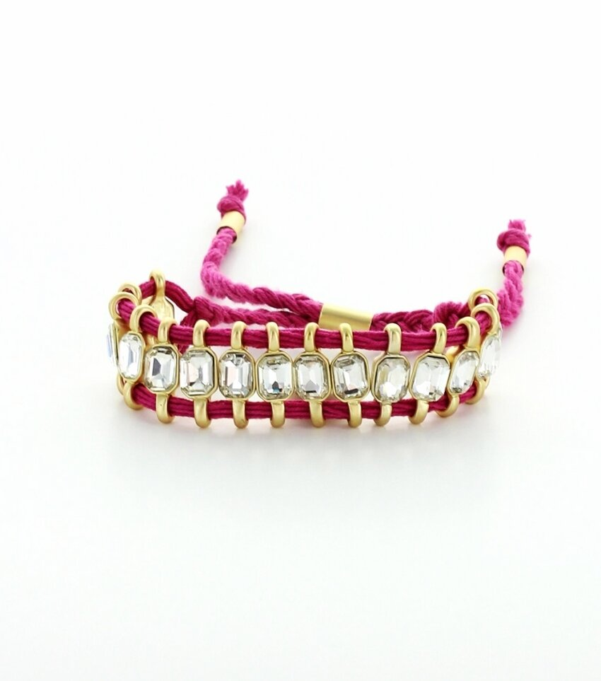 Handmade Multi-Strand Fabric Braided Crystal Drawstring Bracelet