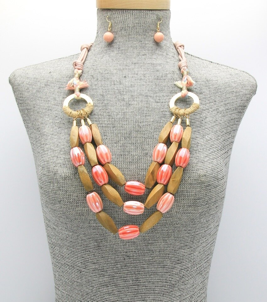 Assorted Wood and Ceramic Beads Cord Necklace Set