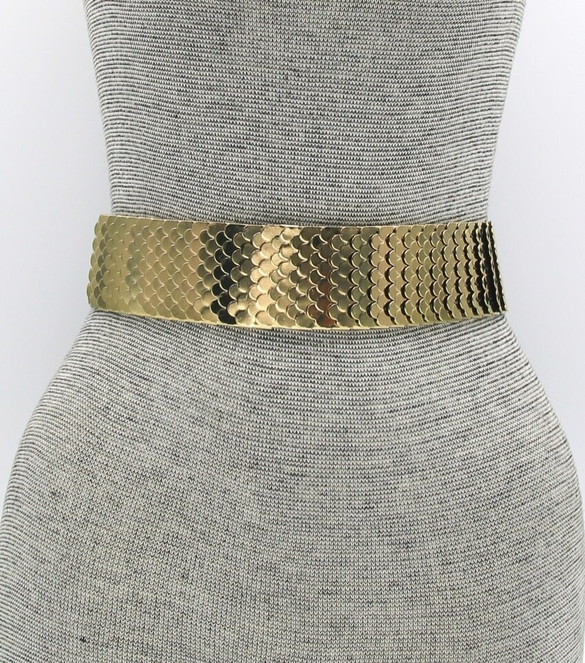Wide Stretch Belt Metal Accents Snap closure