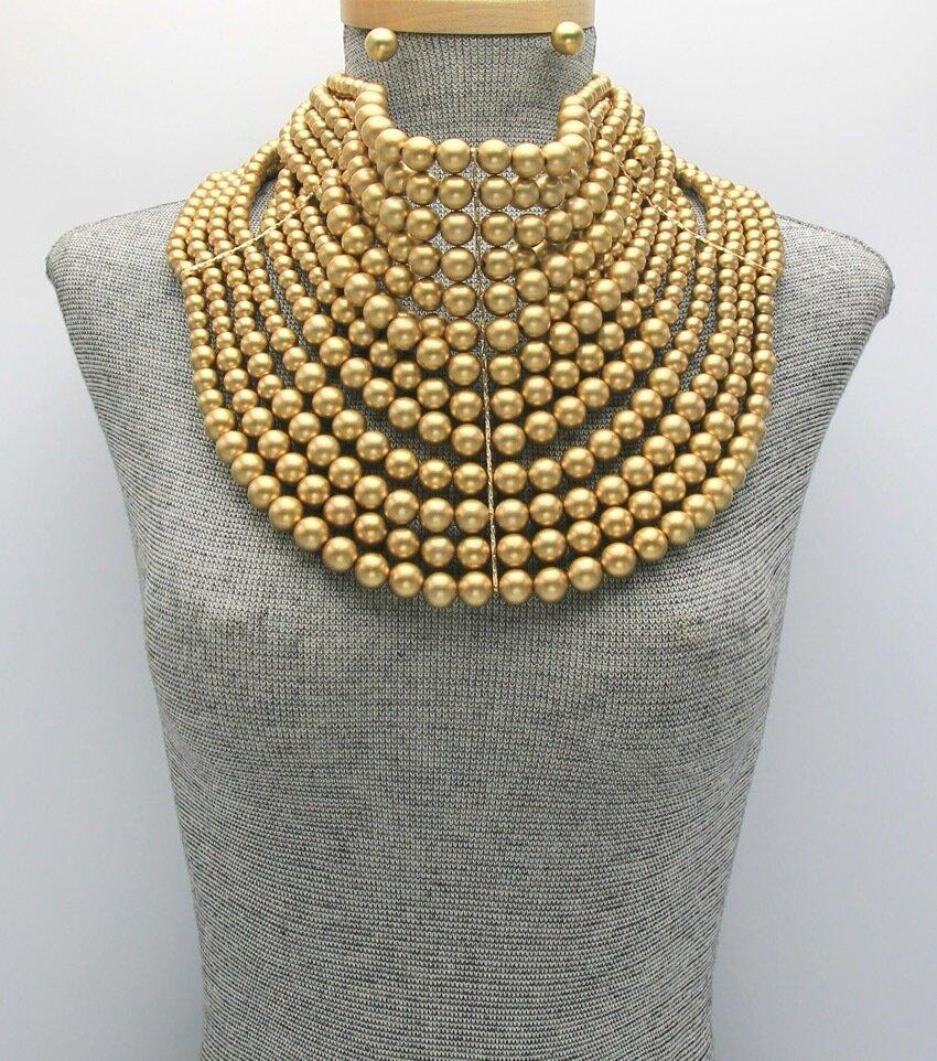 Multi-Row Pearl Beaded Statement Bib Necklace Set