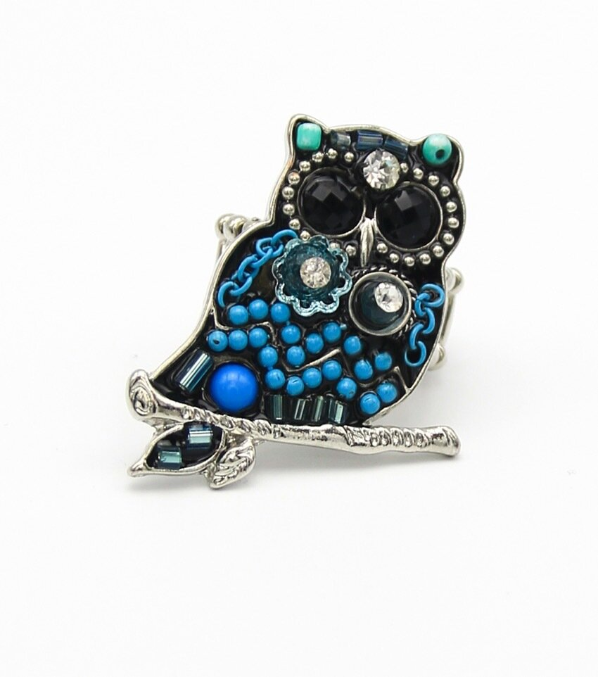 Owl Beaded Stretch Ring
