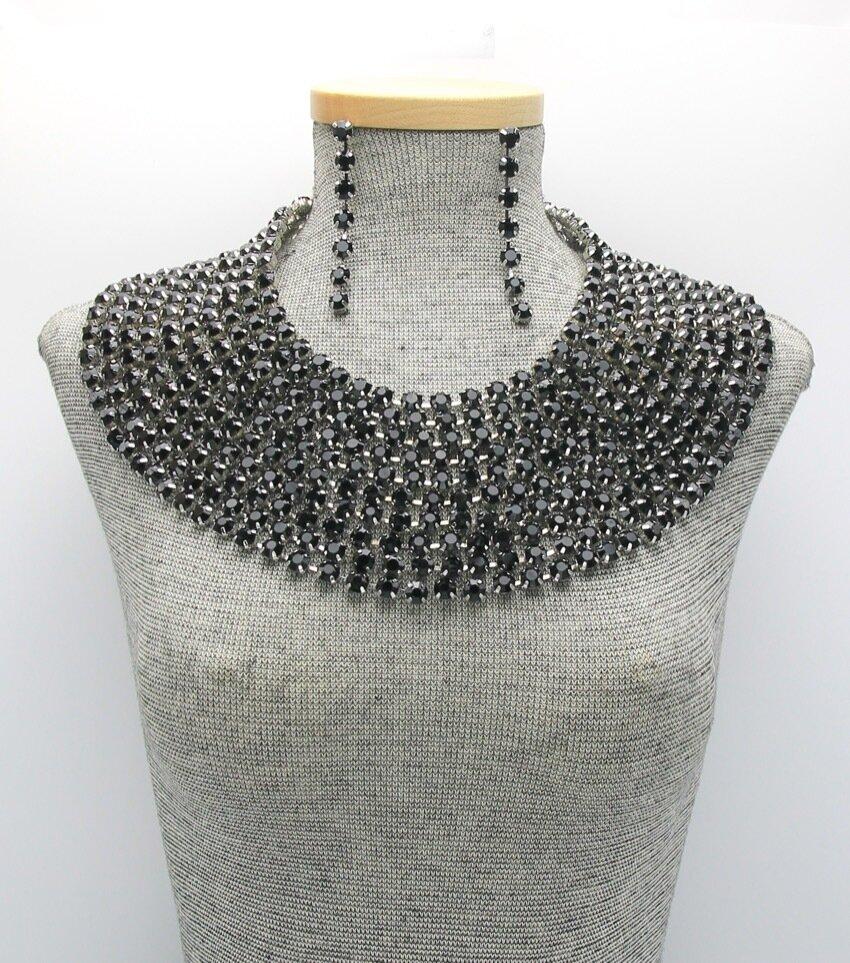 Crystal Statement Collar Necklace Set