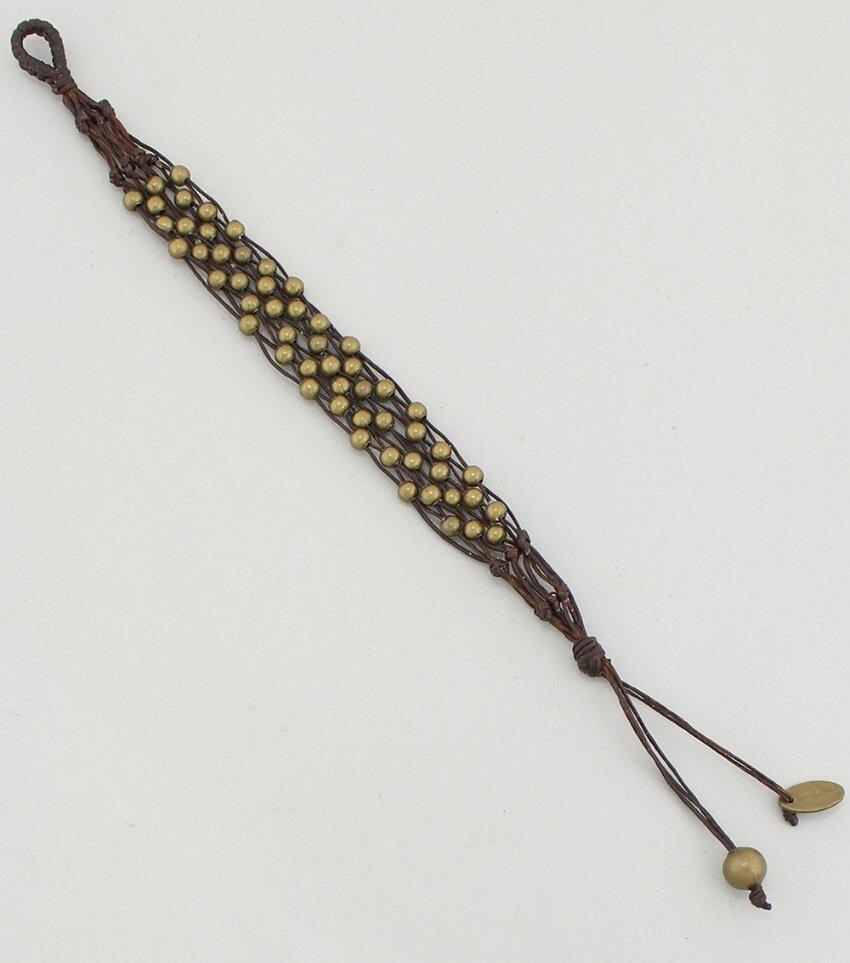 Handmade Waxed Cord Beaded Bracelet