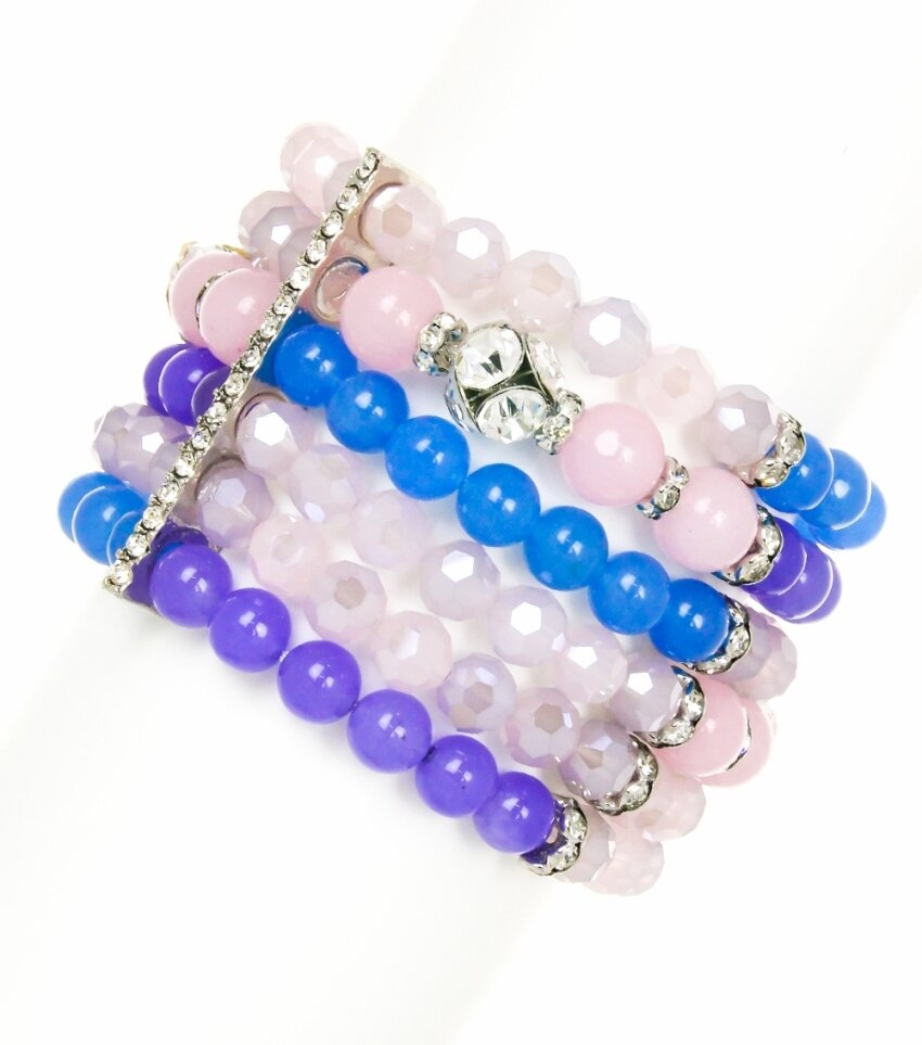 Stackable Layered Rhinestone and Beaded Bracelet
